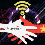 An illustration of a handshake between The SecDev Foundation and Vietnamese flag